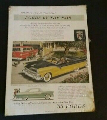 "Vintage Ford Fairlane Automobile Car Advertisement 1950's 13"" Paper Ad Sign"