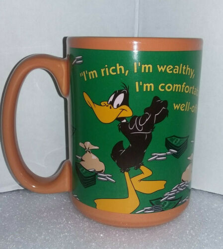 Warner Bros. LOONEY-TUNES year 2000 DAFFY DUCK Orange & Black 14oz. CUP/MUG