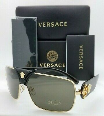 NEW Versace sunglasses BAROQUE VE2207QA 1002/3 Black Gold Brown GENUINE (Black Gold Versace Sunglasses)