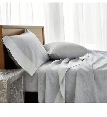Michael Aram Striated  Cotton Queen Flat Sheet SeaFoam NWT!