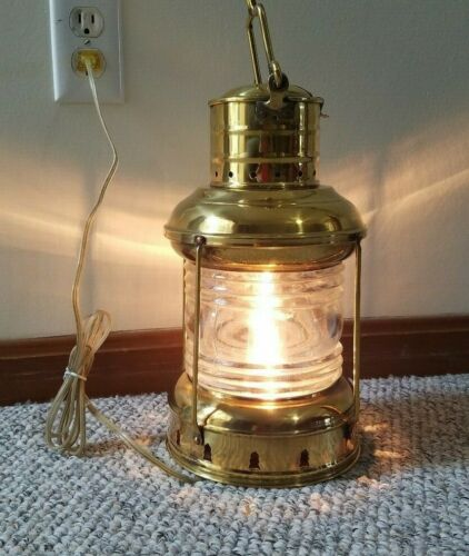Solid Brass Nautical Pointed Anchor Electric Lantern