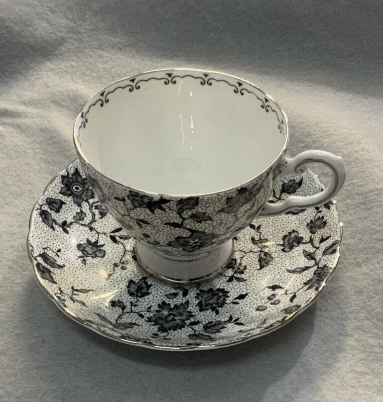 Tuscan Fine English Bone China Black & White Floral Teacup & Saucer