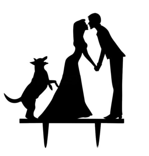 Caketopper Tortenfigur neu MR MRS schwarz  Hochzeit Hund Haustier Brautpaar XL