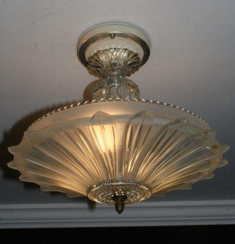 Antique frosted glass sunflower art deco light fixture ceiling chandelier 1940s