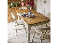 Gorgeous traditional country farmhouse solid pine table brass cup handle draw and four beech chairs