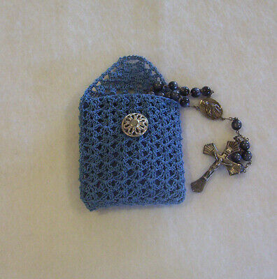 Crochet Blue Rosary Or Jewelry Pouch