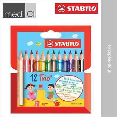 STABILO Trio 12 dicke kurze Dreikant-Buntstifte Farbstifte Malen Zeichnen