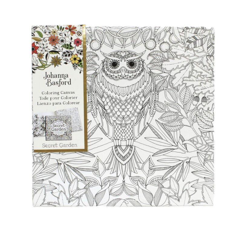 """New Johanna Basford 12"""" X 12"""" Secret Garden  Coloring Canvas - Owl"""