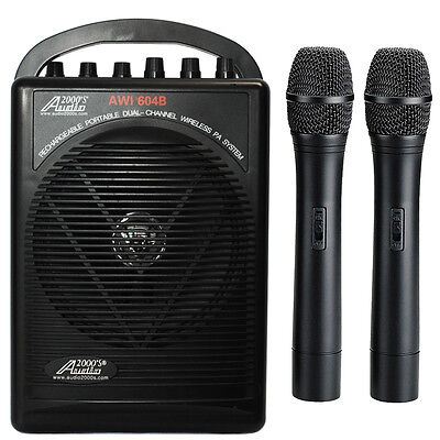 Wireless Battery Powered Pa System - AWP604BHH Dual Wireless Microphone Battery Powered Portable PA System 2 Handheld