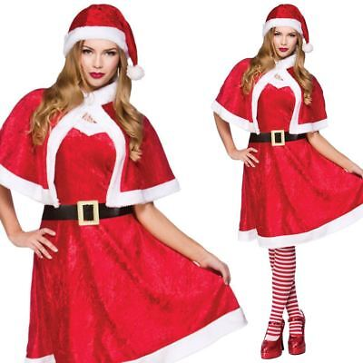 Little Miss Santa Claus Ladies Christmas Fancy Dress Xmas Womens Costume Outfit