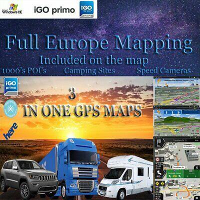 Compatible to iGO Primo CARD  2020 EUROPE MAPS Car/Truck/Caravan WIN CE Devices