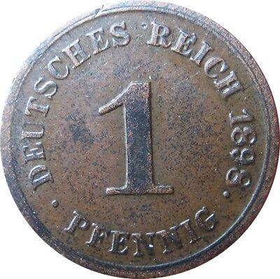J 10  1 Pfennig Kaiserreich von 1898 G in SS-VZ   666 123