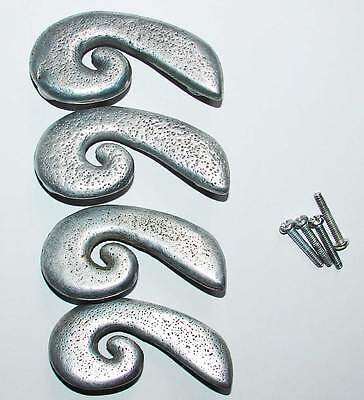 """4 silver metal drawer pulls, 3"""" center to center, 4"""" long, scroll drawer pull"""