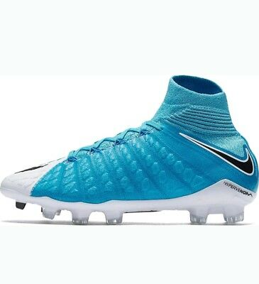 bd5e3987c Nike Jr Hypervenom Phantom 3 III DF FG Soccer Cleats White Blue 860643-104  4.5Y