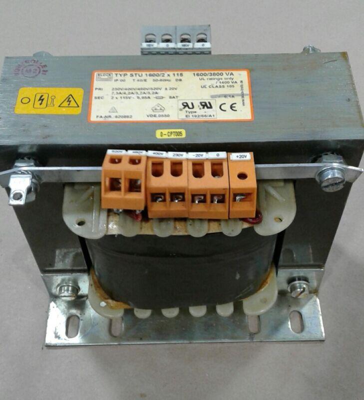 BLOCK TYP STU 1600/2 X 115 Transformer 1600/3800 VA 50/60Hz #1044KW A7PR2