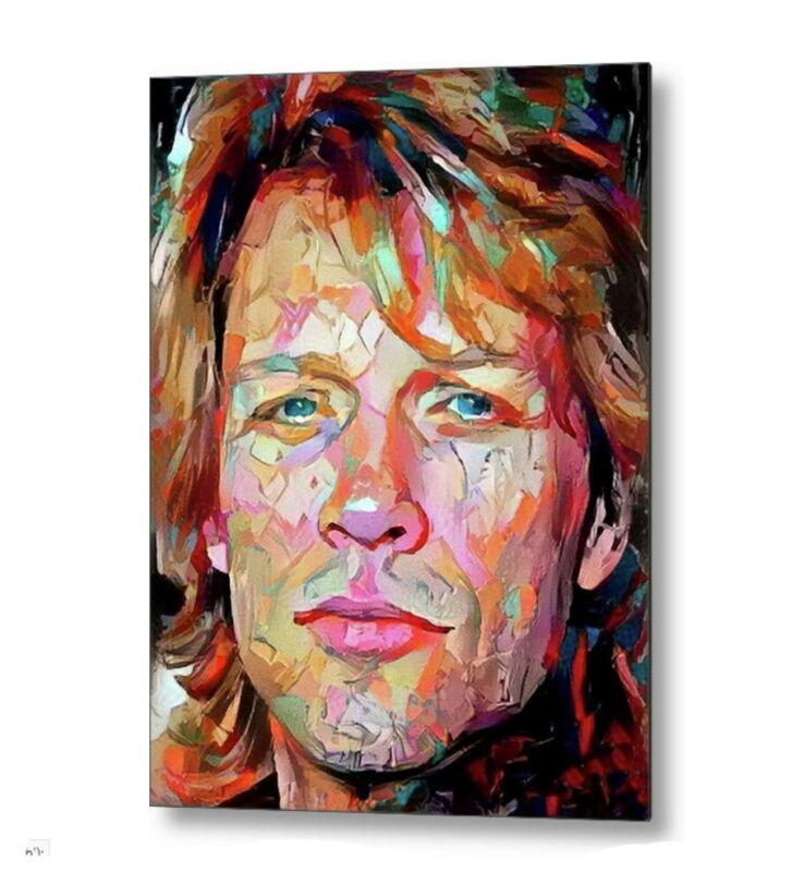 Framed Abstract Jon Bon Jovi 8.5 X 11 Art Print Limited Edition w/signed COA