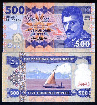 Zanzibar, 500 Rupees, 2017, Private Issue / Essay UNC - Freddie Mercury