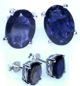 Natural Iolite Sterling SILVER Stud Earrings Genuine Gemstone Rhodium clad 925