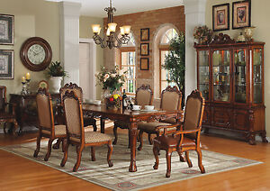 pc high end cherry finish dining room set table and chairs zac04350