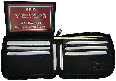 AG Wallets Mens Zip Around Bifold Leather RFID Card ID Security Wallet Black