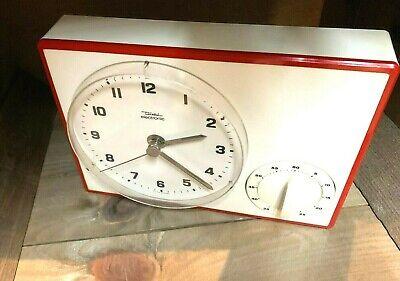 50er 60er Küchenuhr Diehl Wanduhr Kurzzeitmesser grün weiss Atomat rot/weiß