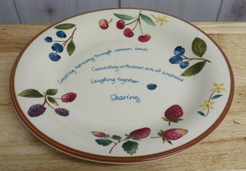 "Longaberger Berry Fruit Pottery 11"" Round Platter Serving Plate Saying Sharing"