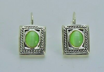 unique designer green color cats eye dangle fashion french clip earrings  #66b ()