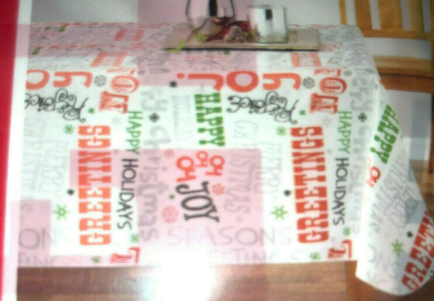 Vinyl Tablecloth Flannel Backing Holiday Theme Christmas Sen