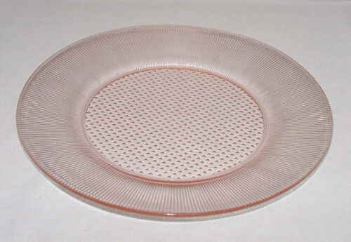 "PERFECT Vintage Pink Jeanette ""HOMESPUN/FINE RIB"" Dinner Plate!!"