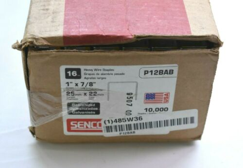 "Senco P12BAB Heavy Wire Staples 16 Gauge 1"" x 7/8"" Galvanized 10,000 Pack New"