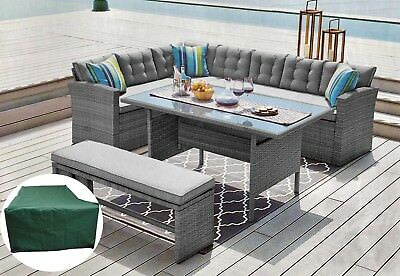 Rattan Corner Garden Sofa 8 Seater with bench Dining Table Set Free Cover