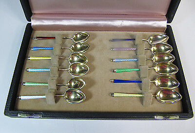 Georg Jensen Demitasse Spoons Twelve Sterling Silver and Gold Washed Enamel