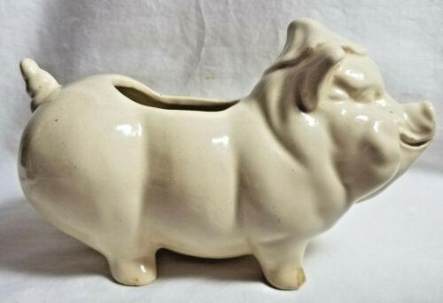 USA Pottery Pot Planter Figurine Vintage Pig Hog Container White