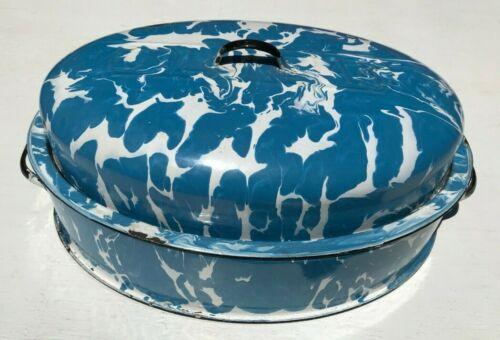 Vintage Blue and White Swirl Columbian Graniteware Roaster Old Original Rare