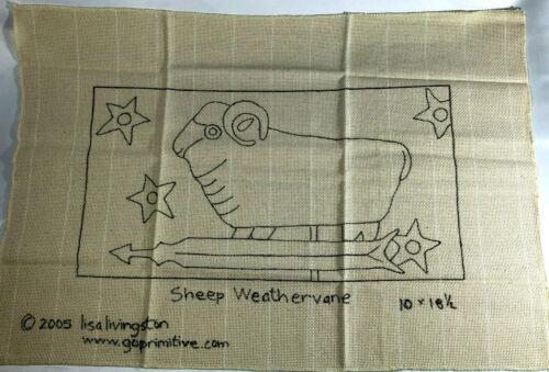 "Rug Hooking Pattern - Sheep Weathervane -  Monks Cloth - 10"" X 18.5"" - Primitive"