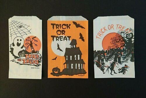 Vintage*UNUSED* Halloween Treat Bags: Haunted Houses, Cemetery, Bats, Ghost