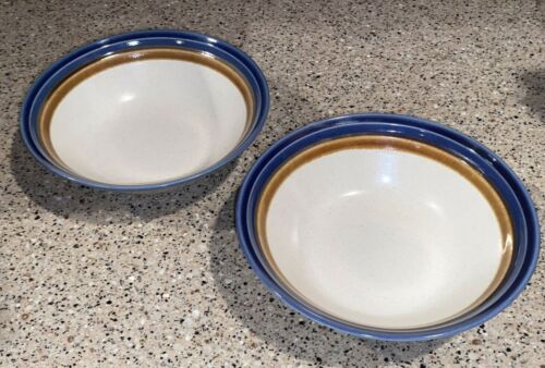 """MIKASA~Craft Stone~""""BLUE HILL""""~ Cereal Bowls~Set of 2~6 3/4""""~MINT!"""