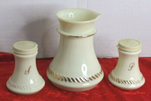 Vintage Wheaton Custard Glass Lot of 3-Salt&Pepper Shakers and Creamer Preowned