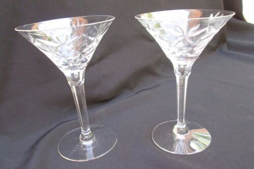 Fan Cut Lead Crystal Martini Toasting Goblet Glass   Set of 2