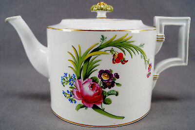Mid 18th Century Pre Marcolini Meissen Hand Painted Floral & Gold Teapot