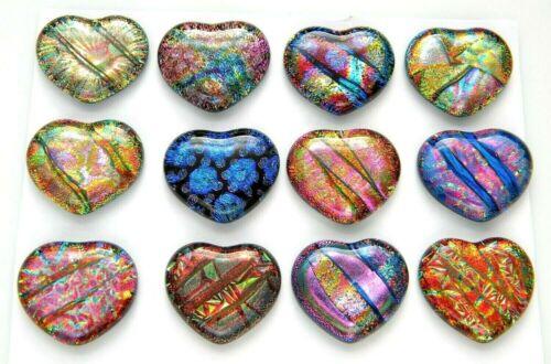 PREMIUM set of 12 HEARTS MEDIUM DICHROIC FUSED GLASS (BA12) CABS MOSAIC HANDMADE