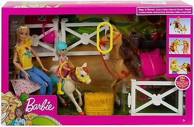 Barbie Hugs 'n Horses Playset and Chelsea Dolls, 2 Horses and 15+ Accessories fo