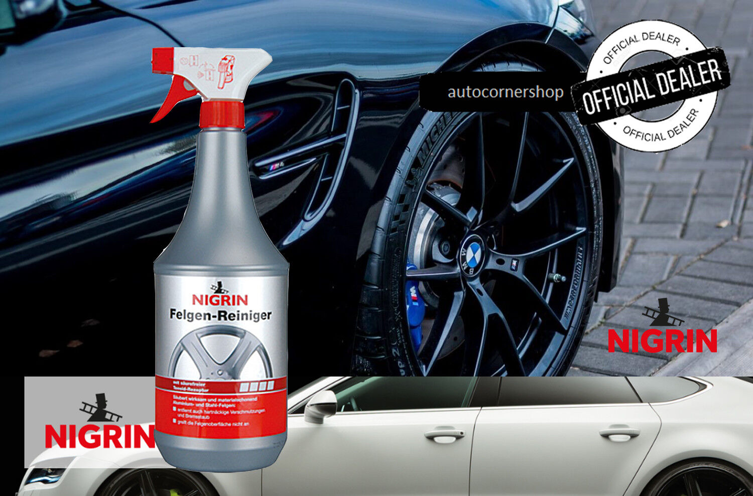 NIGRIN aluminum and steel rims cleaner 1000 ml. For Cars Trucks Motorcycles Vans