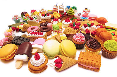 10 of Assorted FOOD CAKE DESERT Japanese Erasers - Food Erasers