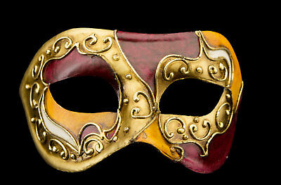 Mask from Venice Colombine Orange Bordeaux Paper Mache Craft 22359 - V3B