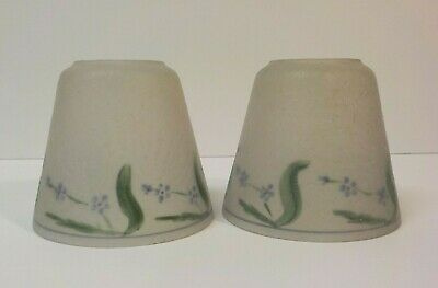 Pair Frosted Glass Reverse Painted Small Lamp Shades, c. 1920's