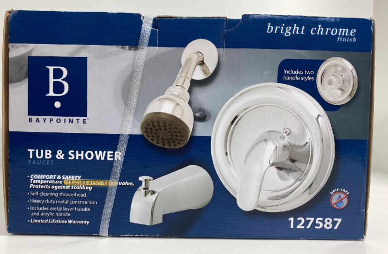 Baypointe Bright Chrome Tub and Shower Faucet  Handle 127587