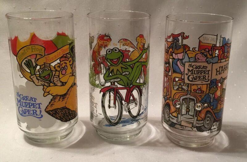 3 Vintage 1981 THE GREAT MUPPET CAPER McDonalds Glasses Jim Henson Muppets