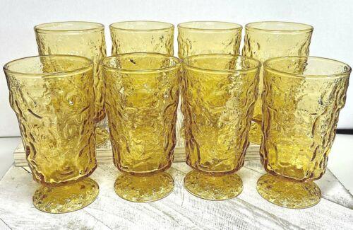 Vintage Anchor Hocking Lido/Milano 6 oz. Honey Gold Footed Juice Glasses - Set/8