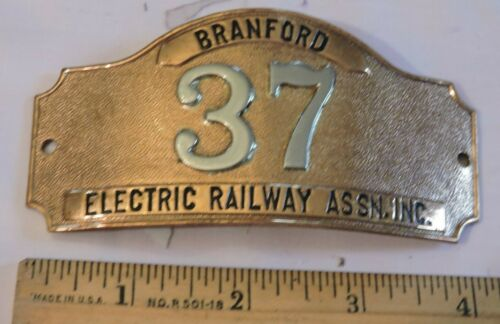 Rare 1940s Connecticut Branford Electric Railway RR ERA Bi-metal Badge 37